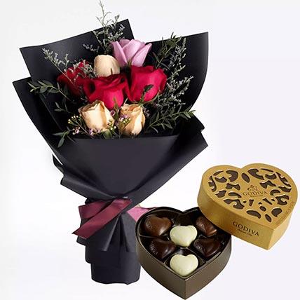 Mixed Roses Posy & Godiva Chocolates 250 gms