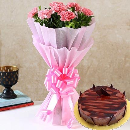 Pink Carnations & Chocolate Ganache Cake 12 Portions