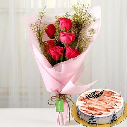 Pink Roses & Choco Vanilla Cake 8 Portions
