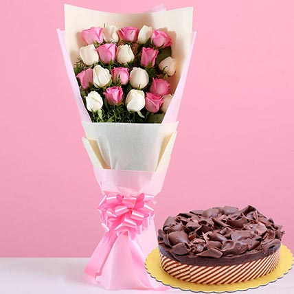 Pink White Roses & Chocolate Mousse Cake 12 Portions