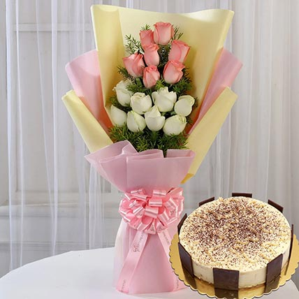 Pink White Roses & Tiramisu Cake 4 Portions