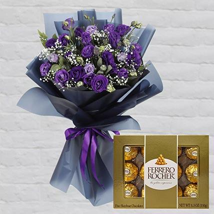 Purple Lisianthus & Ferrero Rocher 12 Pcs