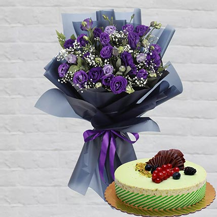 Purple Lisianthus & Kifaya Cake 4 Portions