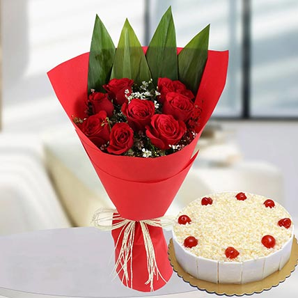 Red Roses Bunch & White Forest Cake 4 Portions
