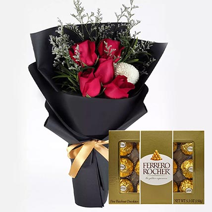 Romantic Red Roses & Ferrero Rocher 12 Pcs