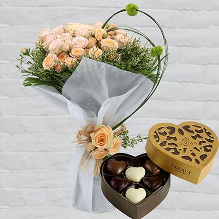 Spray Roses Bouquet & Godiva Chocolates 250 gms