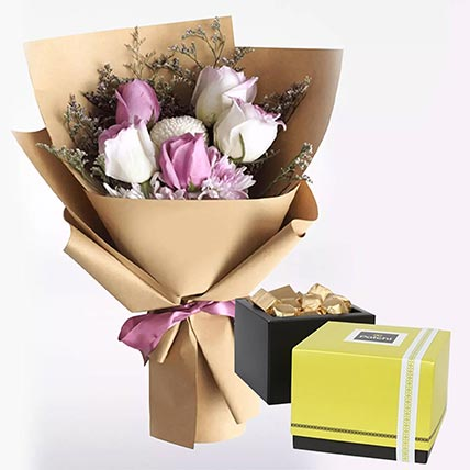 White Purple Flowers & Patchi Chocolates 750 gms