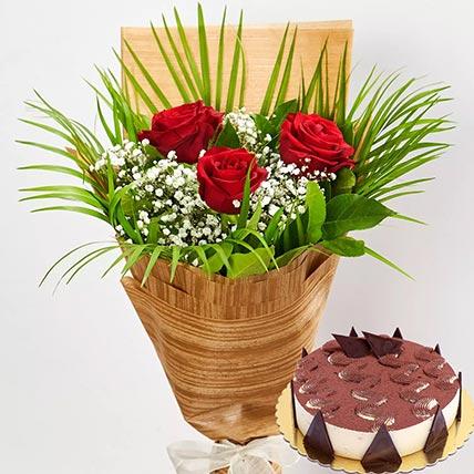 3 Red Roses & Tiramisu Cake 8 Portions