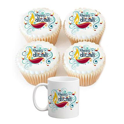 Combo of Diwali Mug and Cupcakes
