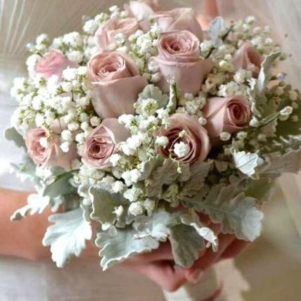 Peach Roses Bridal Bouquet