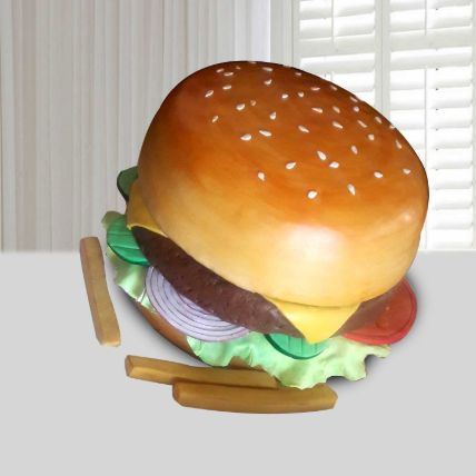 Burger Theme Cake 16 Portions Vanilla