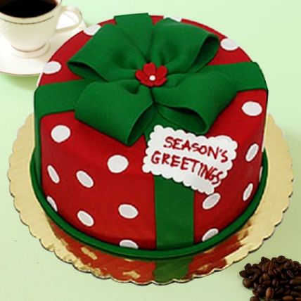 Christmas Greetings Theme Cake 12 Portions Chocolate