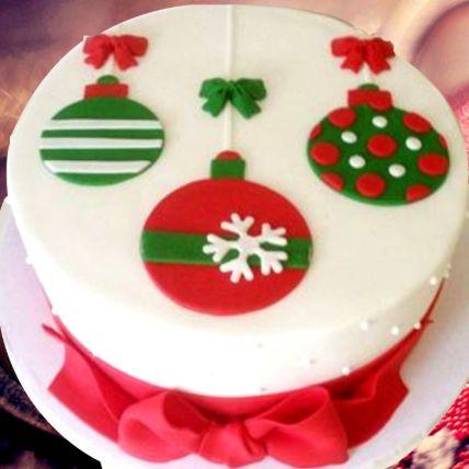 Christmas Theme Cake 16 Portions Vanilla