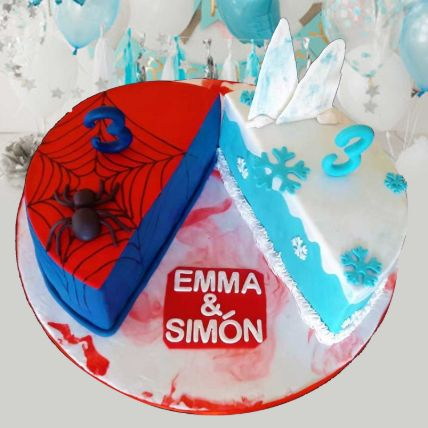 Frozen And Spiderman Theme Cake 8 Portions Vanilla