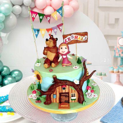 Masha And Bear Theme Cake 16 Portions Vanilla