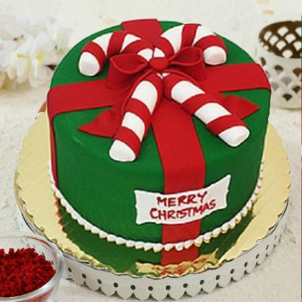 Merry Christmas Theme Cake 8 Portions Vanilla