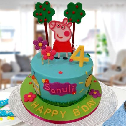 Peppa Pig Theme Cake 8 Portions Vanilla
