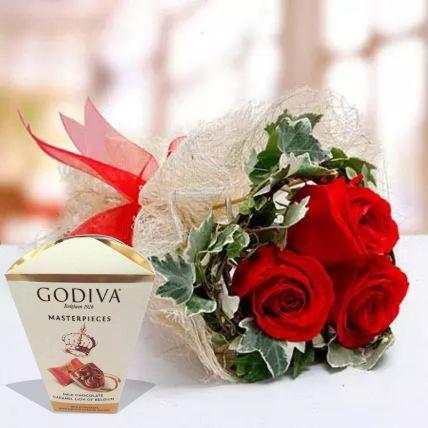 Valentine Roses & Godiva Chocolates