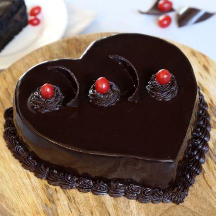 Chocolate Truffle Heart Cake 1 Kg