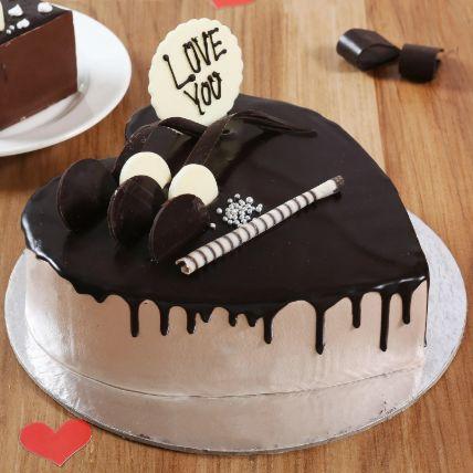 Heart Shaped Cream Chocolate Cake 1.5 Kg