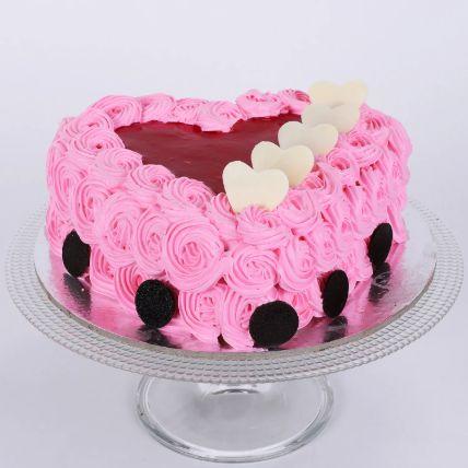 Pink Floral Heart Cake 1 Kg