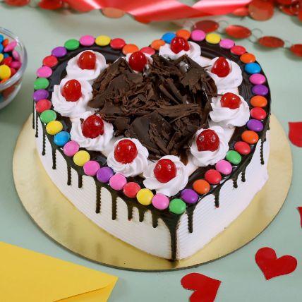 Black Forest Gems Decorated Heart Cake 1 Kg