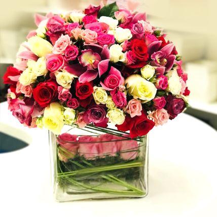 Blooming Mixed Roses & Cymbidium Vase Arrangement
