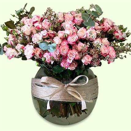 Exquisite Pink Spray Roses Vase Arrangement