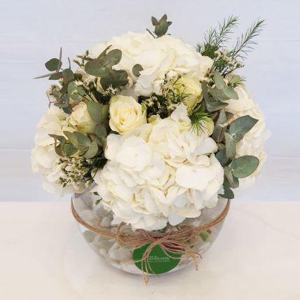 Serene Hydrangea & White Roses Vase Arrangement