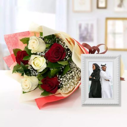 Birch Effect Classy Photo Frame & Roses Bouquet