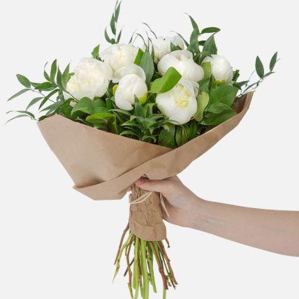 Elegant 10 White Peonies Bouquet
