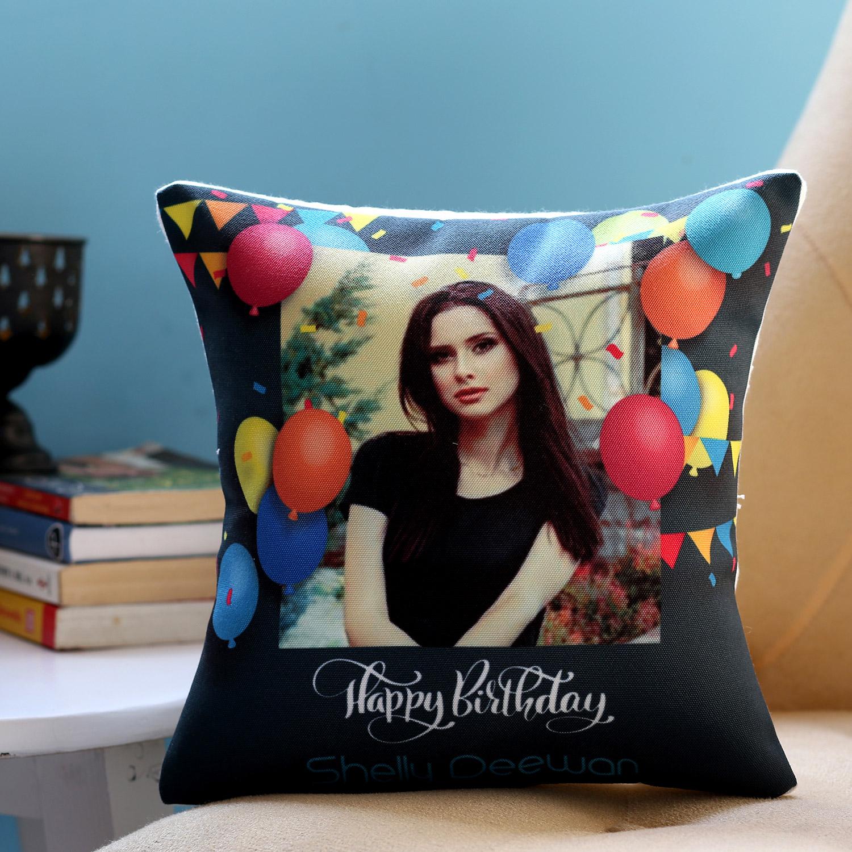 Personalised Birthday Balloons Cushion