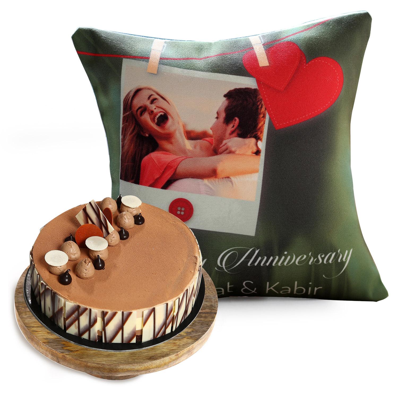 Triple Choco Cake And Anniversary Cushion