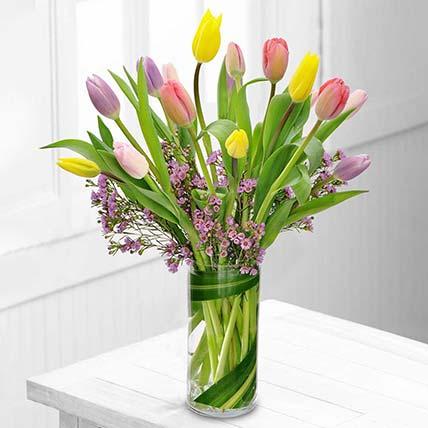 Exotic Mixed Tulips Glass Vase