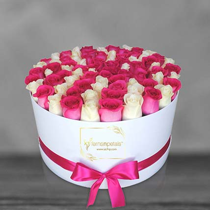 Mix Roses In A Round Box