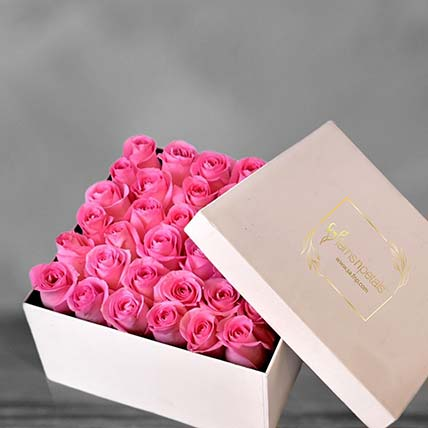 Pink Roses In A Square Box