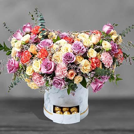 Premium Mixed Flowers White Box Arrangement