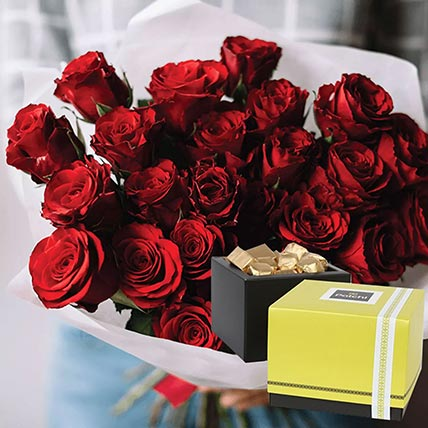 Vivid Red Roses Bunch & Patchi Chocolates 500 gms