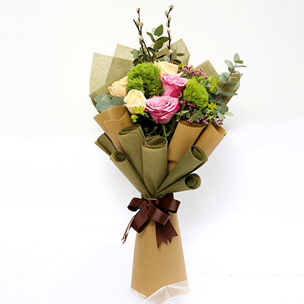 Mixed Roses and Green Trick Flower Bouquet SG