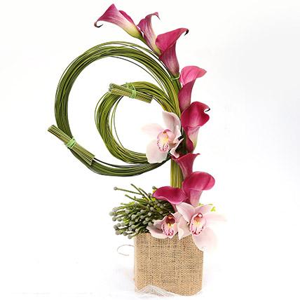Aesthetic Calla Lilies and Cymbidium Arrangement SG