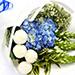 Azure Hydrangea and Button Mums Mix Bouquet SG
