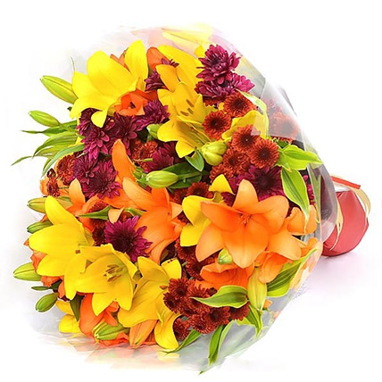 Vibrant Lilies and Chrysanthemums