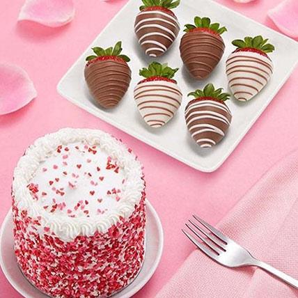 Chocolate Covered Strawberries & Red Velvet Cake